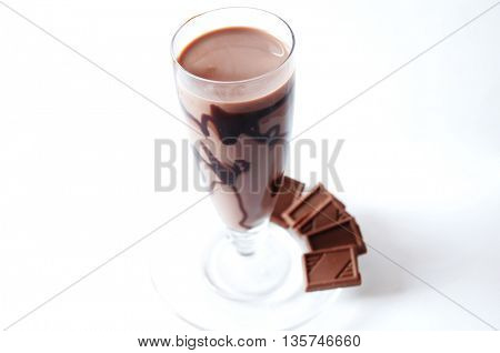 Delicious chocolate milk shake with chocolate bars