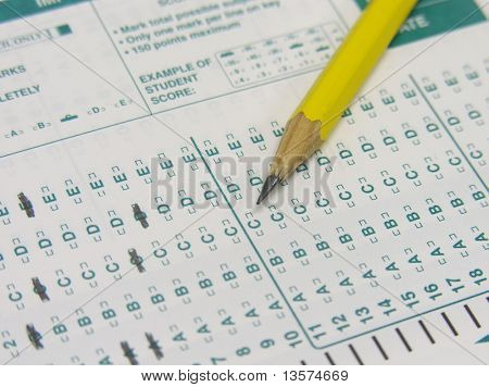 A photo of someone taking a test