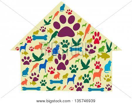 pets care icons set. pets house