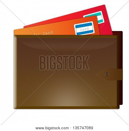 illustration of brown  wallet with credit cards in it