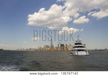 Luxury Yacht And New York Skyline