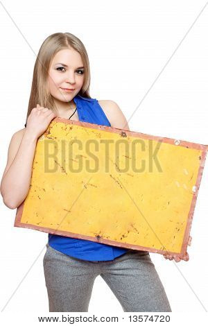 Lovely Young Woman Posing With Yellow Vintage Board