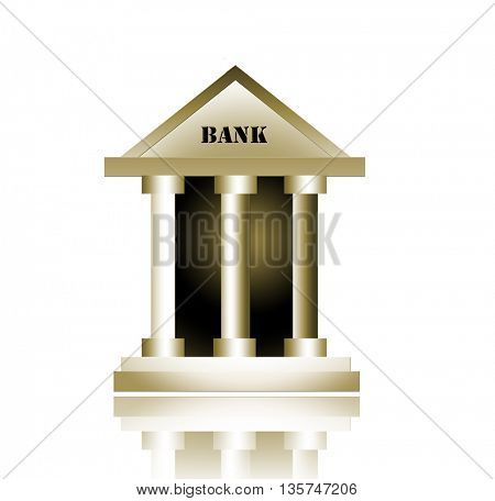Bank building isolated on white background