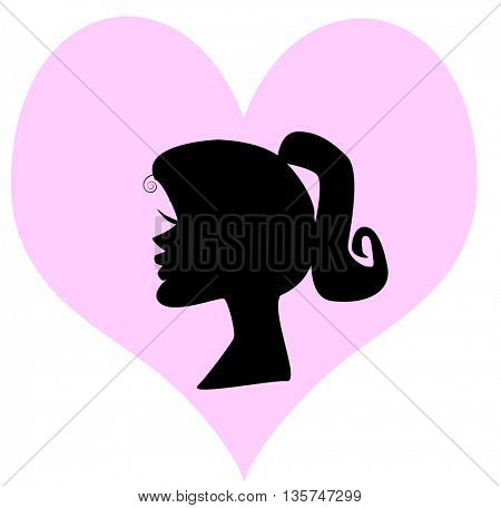 silhouette of a girl face  in heart shape