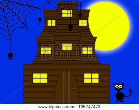 halloween background with black cat