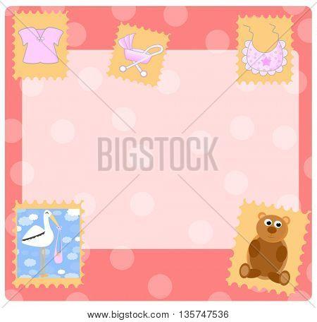 Teddy bear for girl -  arrival announcement
