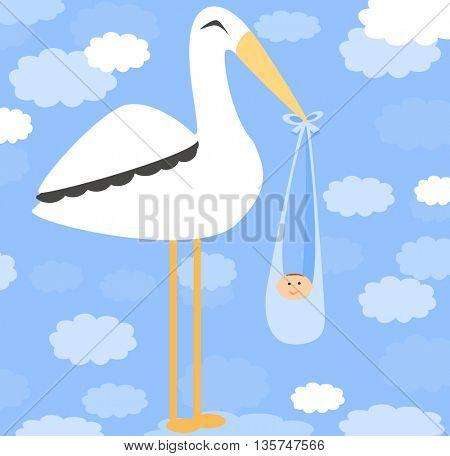 Boy Card - A stork delivering a cute boy.