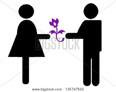 couple with flower-shaped silhouette icon