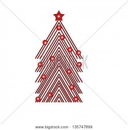 illustration of decorated Christmas tree