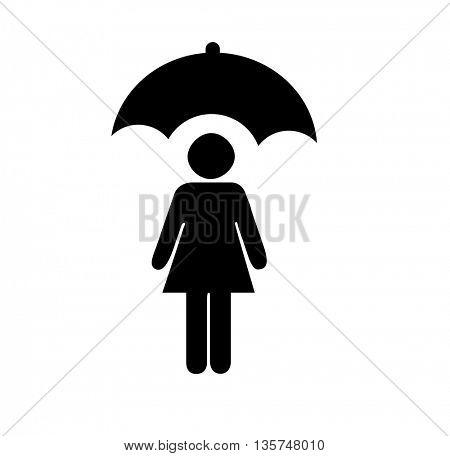 women under the umbrella icon