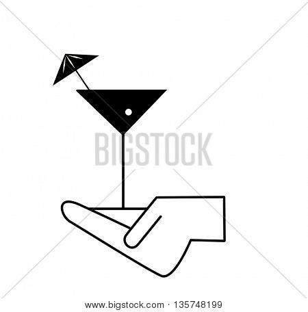 cocktails in hand icons - waiter's hands with orders
