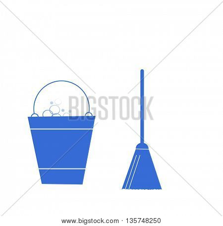 Sweeping Broom and bucket, cleaning icons