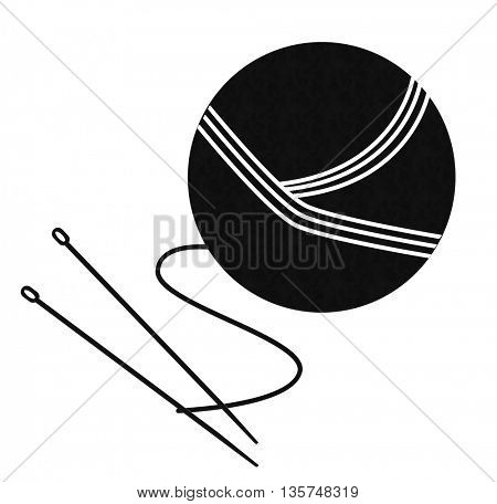 yarn ball with needles isolated on White background