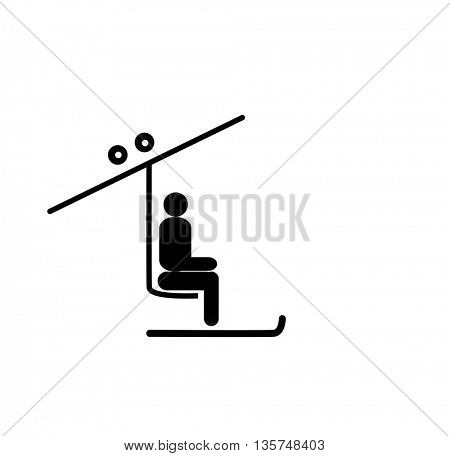 Man with ski on the chair lift