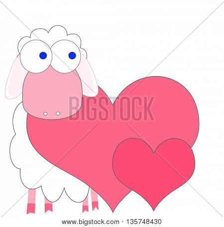 Love background with hearts and sweet sheep