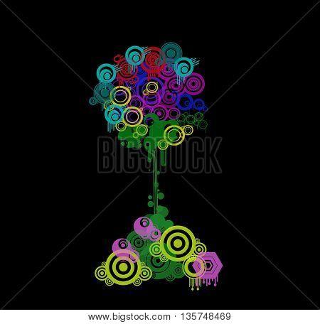 colorful stylized swirl  tree