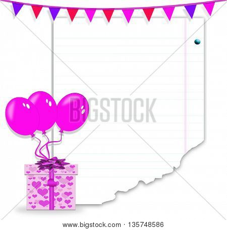 isolated gift boxes with balloons with Holiday decoration and empty notes