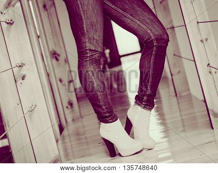Woman Wear Casual Clothes High Heels Indoor.
