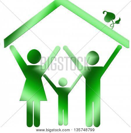eco house happy family