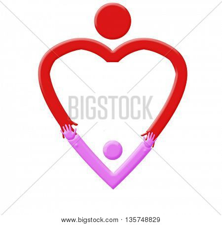 Heart shaped mascot with arms open wide - heart hug- mothers day