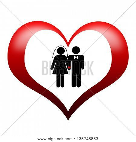 wedding sign illustration of male and female in heart shape