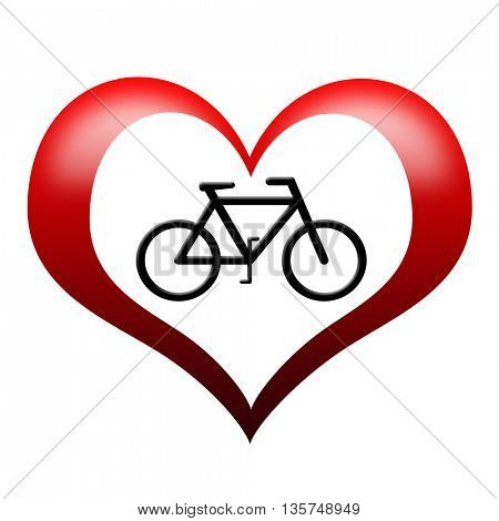 Bicycle Icon in heart shape