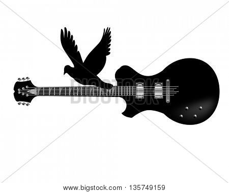 Electric guitar ,flying bird icon