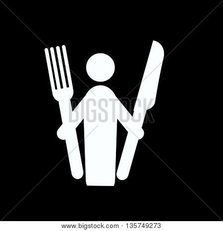 human silhouette holding fork and knife-ready for meal
