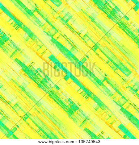 Vivid acrylic seamless pattern. Handmade texture. Bright acid yellow blue and green colors. Colorful diagonal watercolor vector illustration.