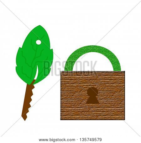 ecology illustration-key made of leaf and wood and wooden lock