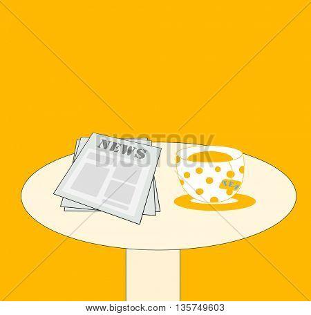 news and tea on the table