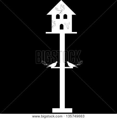 vintage birdhouse and birds