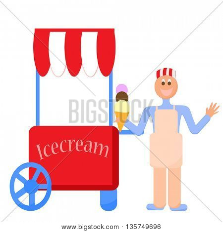 cart stall and a ice cream, ice cream stand,boy selling ice cream