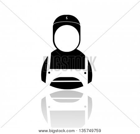 male facial  under a construction helmet to use as symbols of construction organizations