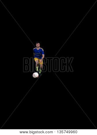 Caucasian soccer player doing kick with ball isolated