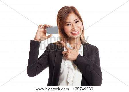 Young Asian Business Woman Point To A Blank Card