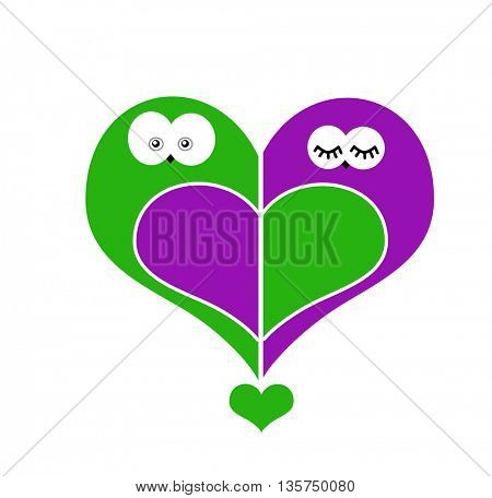 two owls in love in a shape of a heart-simbol of love