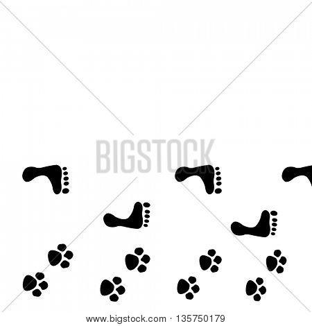 dog and man footprints