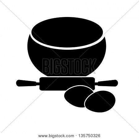 egg and rolling pin ,baking design elements silhouette