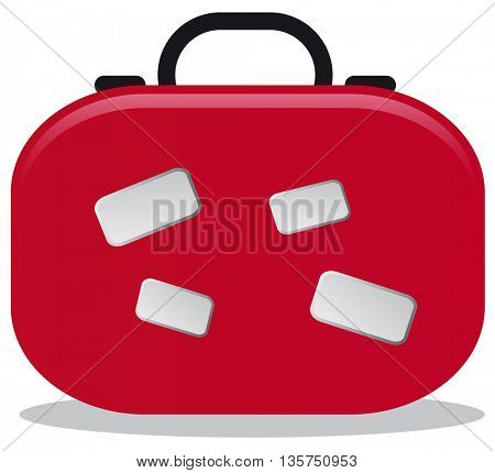 red suitcase for traveling