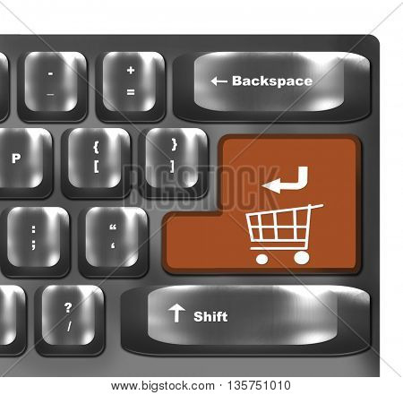 Computer keyboard with orange shopping cart symbol - online shopping concept