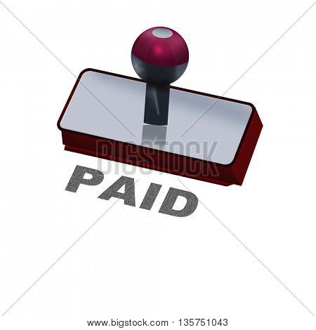 rubber stamp with word paid