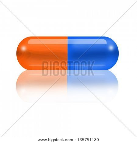 pill isolated on a white background with its reflection