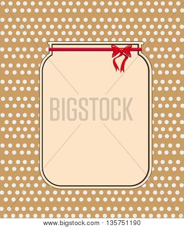 Empty glass jar with red ribbon
