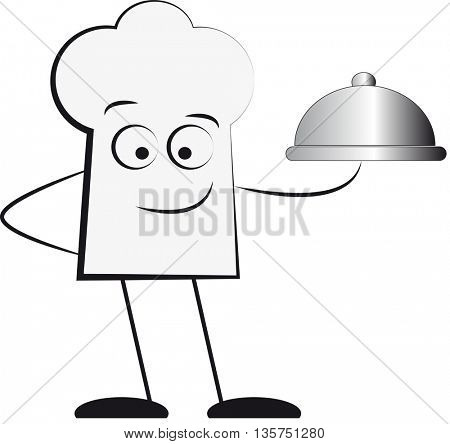 Silhouette of waiter holding serving tray