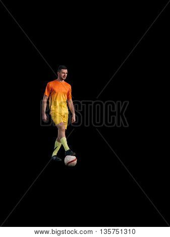 Young soccer player standing on black background