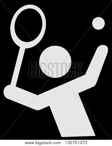 illustration of modern black icon depicting tennis