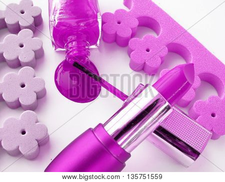 spilled nail polish,lipstick and accessories