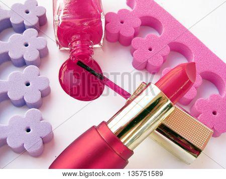 lipstick and spilled nail polish-make up