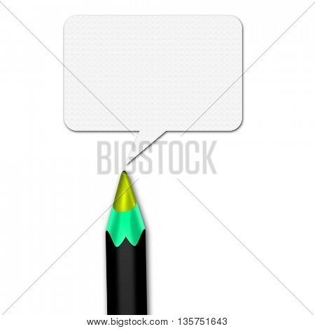 Color pencils set with space for text on white background